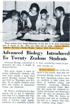 Advanced Biology Introduced to Twenty Zealous Students -- from 'The Reporter' December, 1963